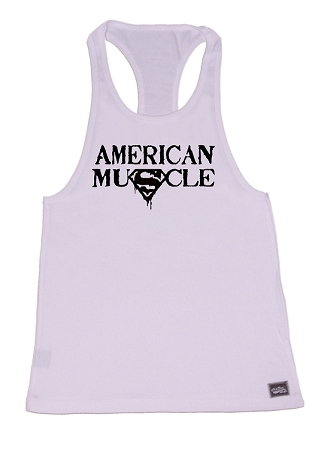 Crazee Wear 312R White Rib Stretch Fitted Tank Tops With White American Muscle In Black