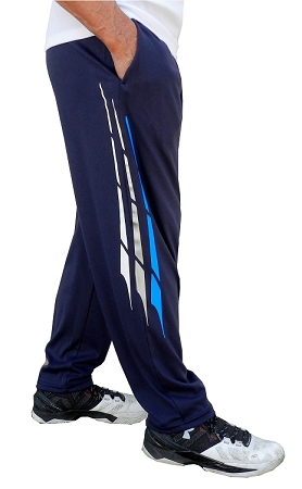 Style 500 Classic Relaxed Fit Solid Navy Blue Pants For Men And Women With White, Grey And Blue Triton Design