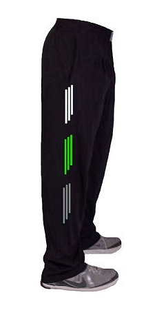 Style 500 Classic Relaxed Fit Solid Black Baggy Pants For Men And Women With White, Grey And Neon Green Stripes