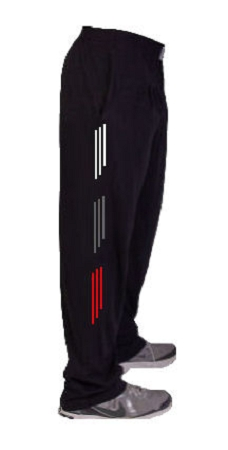 Style 500 Classic Relaxed Fit Solid Black Baggy Pants For Men And Women With White, Grey And Red Stripes