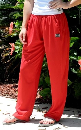 600MP Relaxed Fit Red Micro Fiber Pants For Men And Women