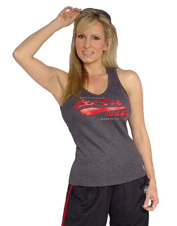 Style 340 Charcoal Stretch Rib Racerback Tank Top (With red wave CZW logo)