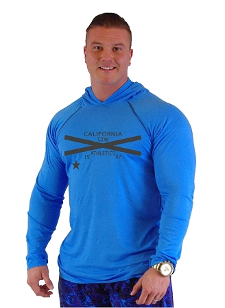 T-Shirt Pacific Hoodie Aqua Blue Pacific Hoodie With CZW Cross 1987
