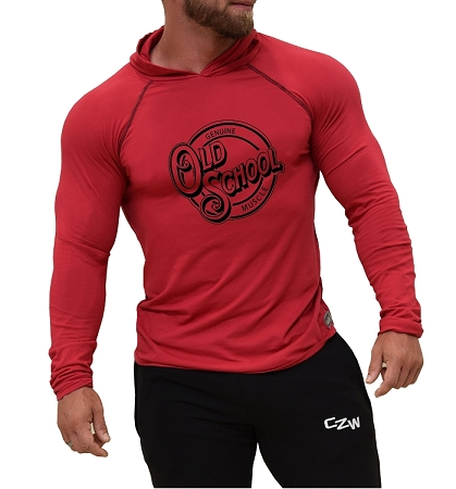 Long Sleeve T-Shirt  Fitted Pacific Hoodie In Red With Old School Muscle Design