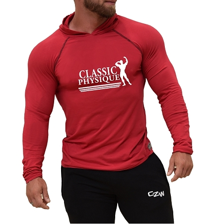 Long Sleeve T-Shirt  Fitted Pacific Hoodie In Red With Classic Physique Design
