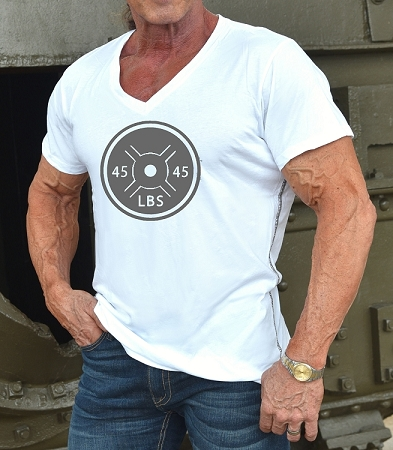 New Style 670V White, summer cool, light weight,  Fitted V-Neck Shirt With Grey 45 LB. Plate Design