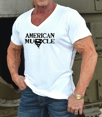 New Style 670V White, summer cool, light weight,  Fitted V-Neck Shirt With Black American Muscle Design