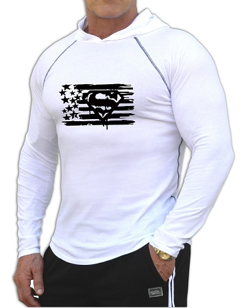 Fitted T-Shirt Pacific Hoodie In White For Men And Women With Black Super Flag Design