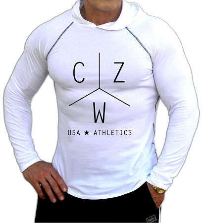Fitted T-Shirt Pacific Hoodie In White For Men And Women With CZW Athletics Design