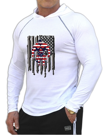 Fitted T-Shirt Pacific Hoodie In White For Men And Women With Versa Bodybuilder Flag design