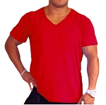 New Style Red 680V Pre shrunk, garment died , Relaxed Fit  V-Neck