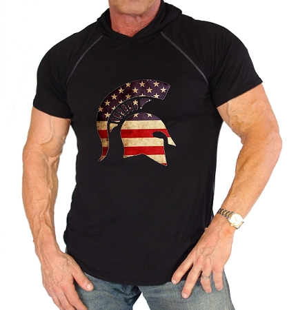 Pacific Hoodie 100% Cotton Fitted Short Sleeve Black With Flag Helmet