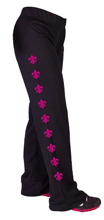 Style 200M Black Figure Pants Stretchy cool Micro Fiber  With Pink Fleur De Lis Graphics