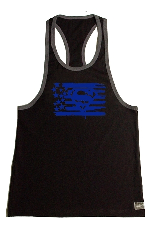 Crazee Wear 312RC Black Rib Stretch Fitted Tank Tops With Grey Ribbing With Blue Superman