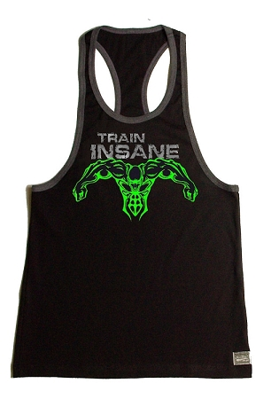 Crazee Wear 312RC Black Rib Stretch Fitted Tank Top With Grey Trim With Grey Train Insane/Neon Green Super Hero