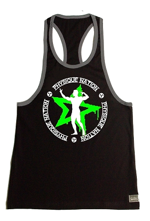 Crazee Wear 312RC Black/Charcoal  Rib Stretch Fitted Tank Top With Grey Trim With Physique Nation Emblem Neon Green Star