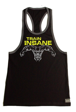 Crazee Wear 312RC Black With Grey Rib  Fitted Tank Top With Neon Yellow Train Insane / Grey Super Hero