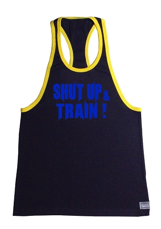 Crazee Wear 312RC Black Rib Stretch Fitted Tank Top With Yellow Trim With Neon Blue Shut Up And Train