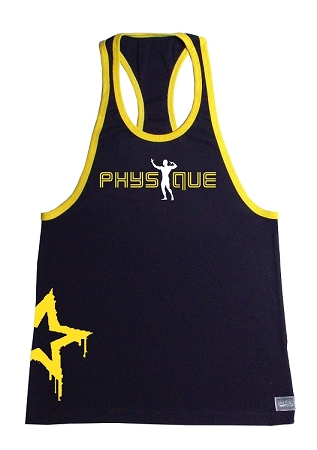 Crazee Wear 312RC Black Rib Stretch Fitted Tank Top With Yellow Ribbing With Yellow Physique and Side Star