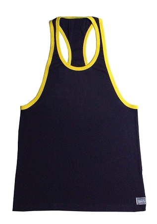 Crazee Wear 312RC Black Rib Stretch Fitted Tank Tops With Yellow Ribbing With Liquid Silver Crazee Wear Logo