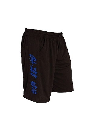 Style 600MS Micro blend black training shorts w/czw blue
