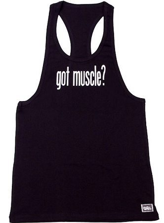 312R Black Tank Top with Got Muscle in white