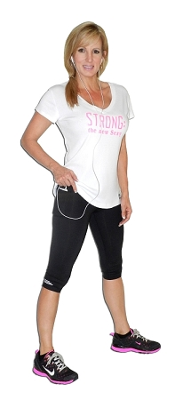 Women Black Capri Leggings With White Sidewinder Design