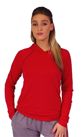 Fitted T-Shirt Pacific Hoodie ( Red/Black)  For Men And Women