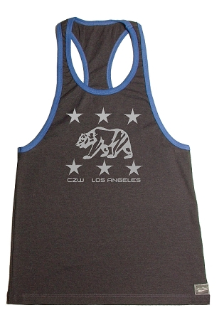 Crazee Wear 312RC Charcoal Rib Stretch Fitted Tank Top With Blue Trim With Los Angeles Bears