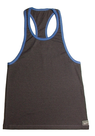 Crazee Wear 312RC Grey Rib Stretch Fitted Tank Top With Blue Trim