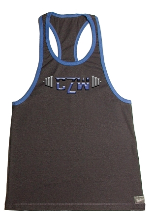 Crazee Wear 312RC Charcoal Rib Stretch Fitted Tank Top With Blue Trim With Blue Versa Barbell Clearance