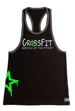 Crazee Wear 312RC Black/Charcoal  Rib Stretch Fitted CrossFit tank Top With Grey Trim With  Neon Green Star