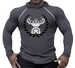 T-Shirt Pacific Hoodie Charcoal Grey For Men And Women With Back Muscle Man Crest
