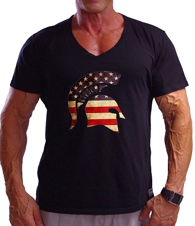 New Style 670V Black, summer cool, light weight,  Fitted V-Neck  With  American Flag Helmet design