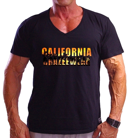 New Style 670V Black, summer cool, light weight,  Fitted  V-Neck With California Crazee Wear Lifestyles
