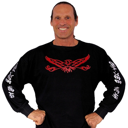 Style 444ft Sweat Shirt Black W/red eagle and silver crazee wear graphics