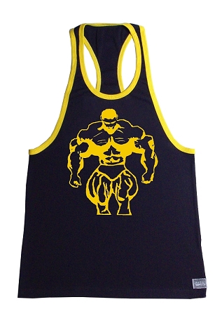Crazee Wear 312RC Black Rib Stretch Fitted Tank Top With Yellow Trim And Huge Mega Muscle Man