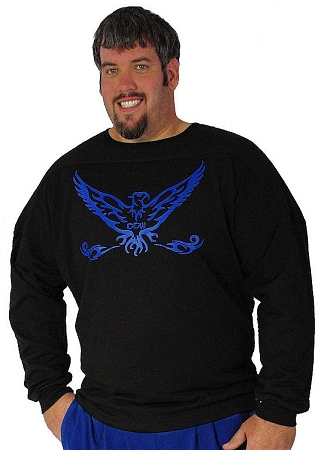 Style 444ft Black Sweat Shirt W/Blue Eagle