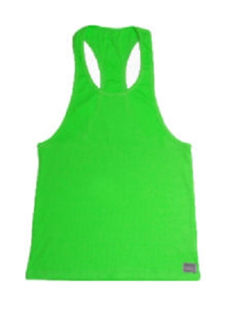 Crazee Wear 312R Neon Green Rib Stretch Fitted Tank Tops