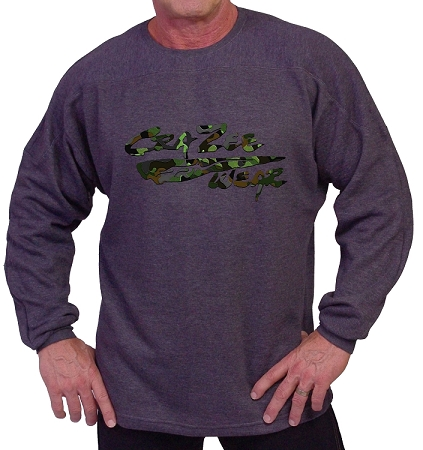 Style 444FT Charcoal Sweat Shirt With Camo  Crazeewear Logo  Long Sleeve For Men And Women