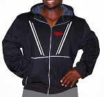 Mens Relaxed Fit  Crazee Hoodie- Black With V-Taper CZW Athlete Designs On Front And Back