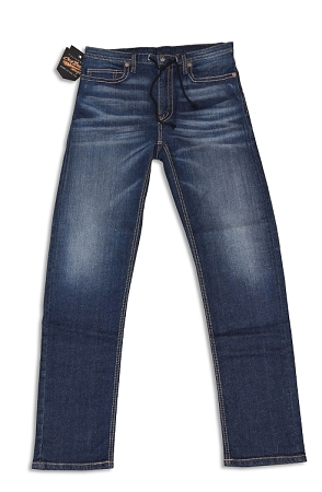 Fitted Athletic Stretch Denim Vintage Washed Jeans With Optional Draw String