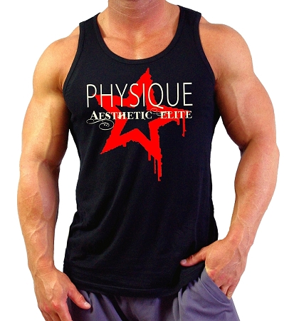 Style 350 New Solid Black CZW Venice Physiqe Tank Top With Physique Red Star Graphic