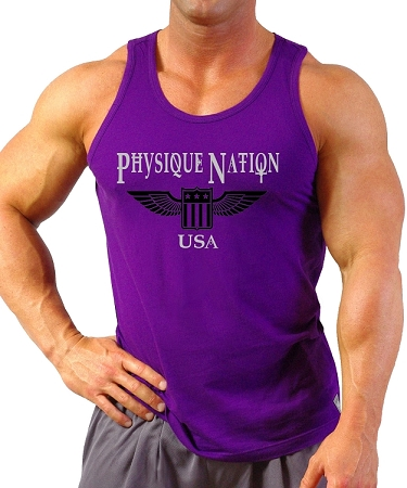 Style 350 New Purple CZW Venice  Physique USA Tank Top With Physique Nation Graphics