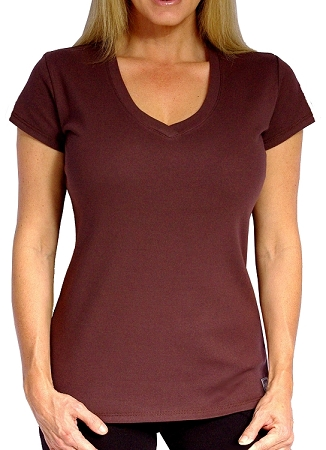 Style 330 Classic Solid Brown V-Neck