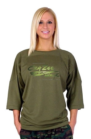 Style 4443/4 Sleeve Relaxed Fit Army Green Top For Men and women With Versa Crazee Wear Logo