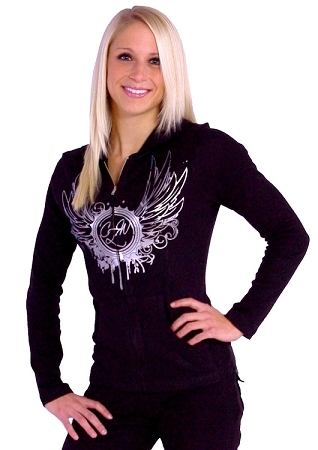 Style 800WH Black Ladies Hoodie With White CZW  Wing