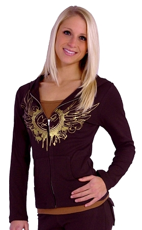 Style 800WH Brown Ladies Hoodie With Gold CZW Wing