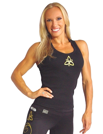 Style 340 Black Stretch Rib Racerback Tank Top With Small Gold Prism Design