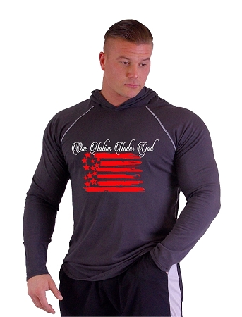 T-Shirt Pacific Hoodie Charcoal Grey For Men And Women With One Nation Under God